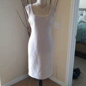 White and beige/muted gold stripe dress